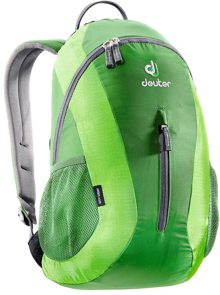 Рюкзак спортивный Deuter Daypacks City Light, цвет: изумрудный, зеленый, 16 л80154_2215Сверхпрочный, хорошо организованный рюкзак разработан специально для людей, которые регулярно ездят в школу, университет или в офис. Для любитель быстрой езды, рюкзак для велосипеда снабжен набедренным поясом для плотного прилегания к спине.Особенности Deuter City Light: система подвески Airstripesанатомические мягкие плечевые лямкиудобный доступ в основное отделение с помощью двусторонней u-образной молниивнутренний карман для документовпередний карман на молниибоковые сетчатые карманыотражатель 3M.