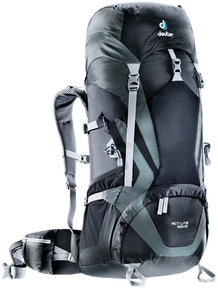 Рюкзак Deuter Aircontact Lite ACT Lite 50+10, цвет: черный, темно-серый, 60 л3340315_7410Обтекаемый, вместительный рюкзак Deuter Aircontact Lite ACT Lite 50+10 выполнен из высококачественного материала. Предназначен для туристических походов и альпийский восхождений. Модели ACT Lite имеют технический дизайн и большой набор полезных опций. Плечевые лямки двухслойной конструкции с мягкой пеной имеют точную анатомическую форму. Отдельный нижний отсек. Двухслойное усиленное дно. Совместимость с питьевой системой. Петли для крепления шлема. Петли для крепления ледоруба.