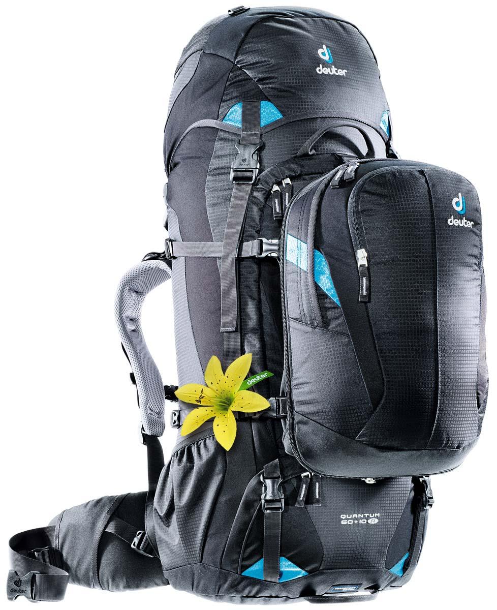 Рюкзак Deuter Travel Quantum 60+10 SL, цвет: черный, бирюзовый, 70 л рюкзак deuter act trail 22 sl petrol mint 3440015 3217