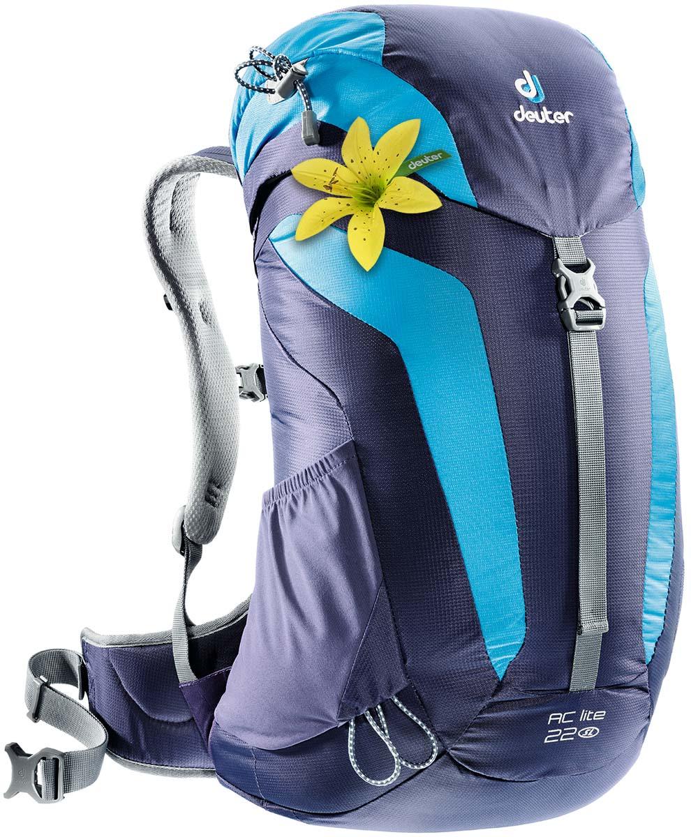 Рюкзак Deuter AC Lite 22 SL, цвет: темно-синий, бирюзовый, 22 л3420216_3349Компактный, спортивный рюкзак идеально подходит для женщин, предпочитающих пешие прогулки. Система подвески AirComfort с великолепной вентиляцией и легкие материалы в конструкции делают рюкзак настолько удобными, что вы забудете, что у вас за спиной рюкзак.Петли для трекинговых палок,мягкие крылья пояса (22 SL & 26), система Aircomfort,мягкие лямки анатомической формы,карман в клапане,внутренние карманы на молниях,практичный замок на клапане,светоотражающие элементы,боковые эластичные карманы,Совместимость с питьевой системойинтегрированный, съемный чехол от дождя,светоотражатель на фиксаторе питьевой трубки.Система спины Deuter Aircomfort SystemПлечевые лямки имеют анатомическую форму, подбиты мягкой подкладкой. Прочный упругий стальной каркас обеспечивает гибкость и легкость конструкции, а также натягивает вентиляционную сетку. Прочная сетка Aircomfort обеспечивает удобство и вентиляцию высшего класса: нагретый телом воздух свободно рассеивается с трёх сторон. Вентилируемая подкладка из двухслойного пенистого полимера (серия AC Lite, Zugspitze 20 SL и 25) или анатомический набедренный ремень с вентилируемой подкладкой (Groeden 30 SL и 35) для обеспечения идеального комфорта и стабильности при переноске.Что взять с собой в поход?. Статья OZON Гид