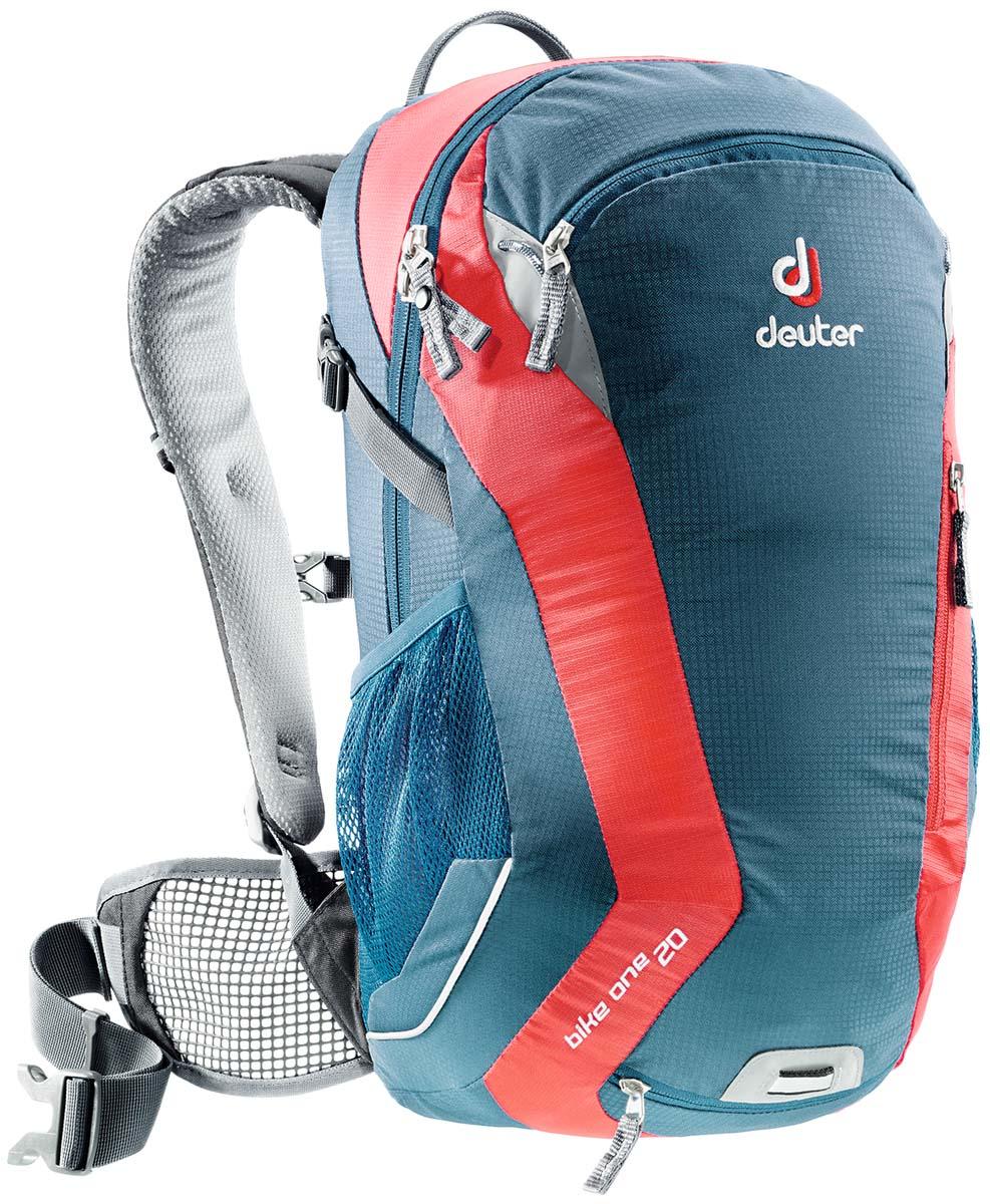 Рюкзак спортивный Deuter Bike One 20, цвет: голубой, серый, красный, 20 л32082_3514Классический рюкзак идеально подходит для людей, предпочитающих вело-прогулки.Особенности Deuter Bike One 20: съёмный держатель для шлемакомпрессионые ремнинаружние карманыдва внутренних карманабоковые сетчатые карманыкарман для влажной одеждыотражатели 3Mфиксаторы для питьевой системынабедренный пояс с сетчатыми крыльямианатомические плечевые лямкипетля для крепления ночного габаритного фонарика Safety Blinkчехол от дождяРазмеры: 50 x 26 x 20 см