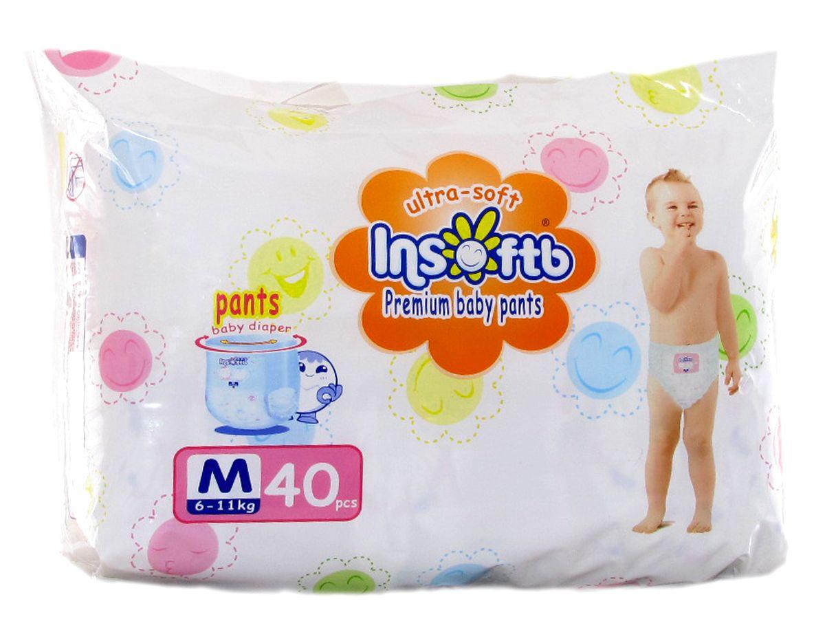 Insoftb Трусики-подгузники Premium Ultra-soft 6-11 кг размер M 40 шт