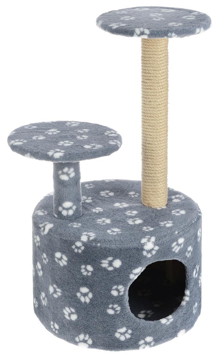 Игровой комплекс для кошек Меридиан Лапки, с когтеточкой и двумя полками, цвет: серый, белый, бежевый, 40 х 40 х 81 см игрушка triol столбик и туннель цвет кремовый коричневый 24 х 21 х 23 см