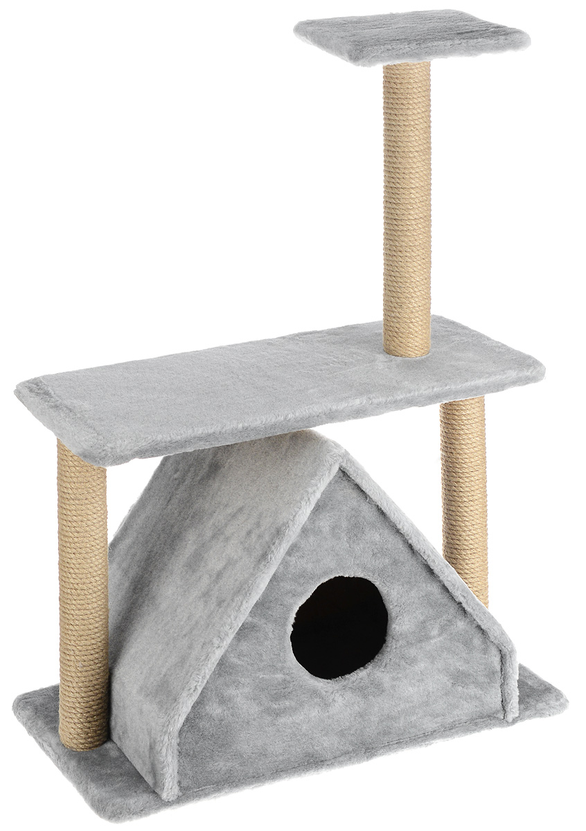 Игровой комплекс для кошек Меридиан, с двумя полками, цвет: светло-серый, бежевый, 68 х 39 х 104 см цена