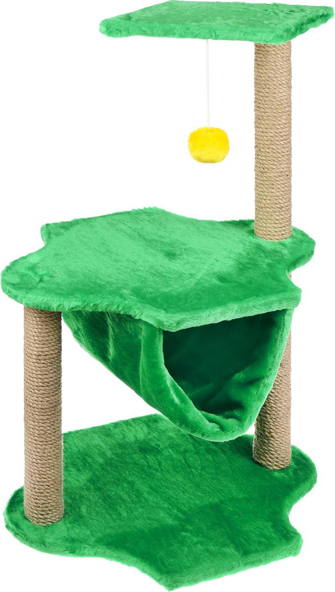 Игровой комплекс для кошек ЗооМарк, 3-ярусный, цвет: зеленый, бежевый, 60 х 50 х 100 см129Игровой комплекс для кошек ЗооМарк выполнен из высококачественного дерева и обтянут искусственным мехом. Изделие предназначено для кошек. Комплекс имеет 3 яруса. Ваш домашний питомец будет с удовольствием точить когти о специальные столбики, изготовленные из джута. А отдохнуть он сможет либо на полках, либо в гамаке, расположенном на нижнем ярусе. На одной из полок расположена игрушка, которая еще сильнее привлечет внимание питомца.Общий размер: 60 х 50 х 100 см.Размер основания и средней полки: 60 х 45 см.Размер верхней полки: 50 х 34 см.