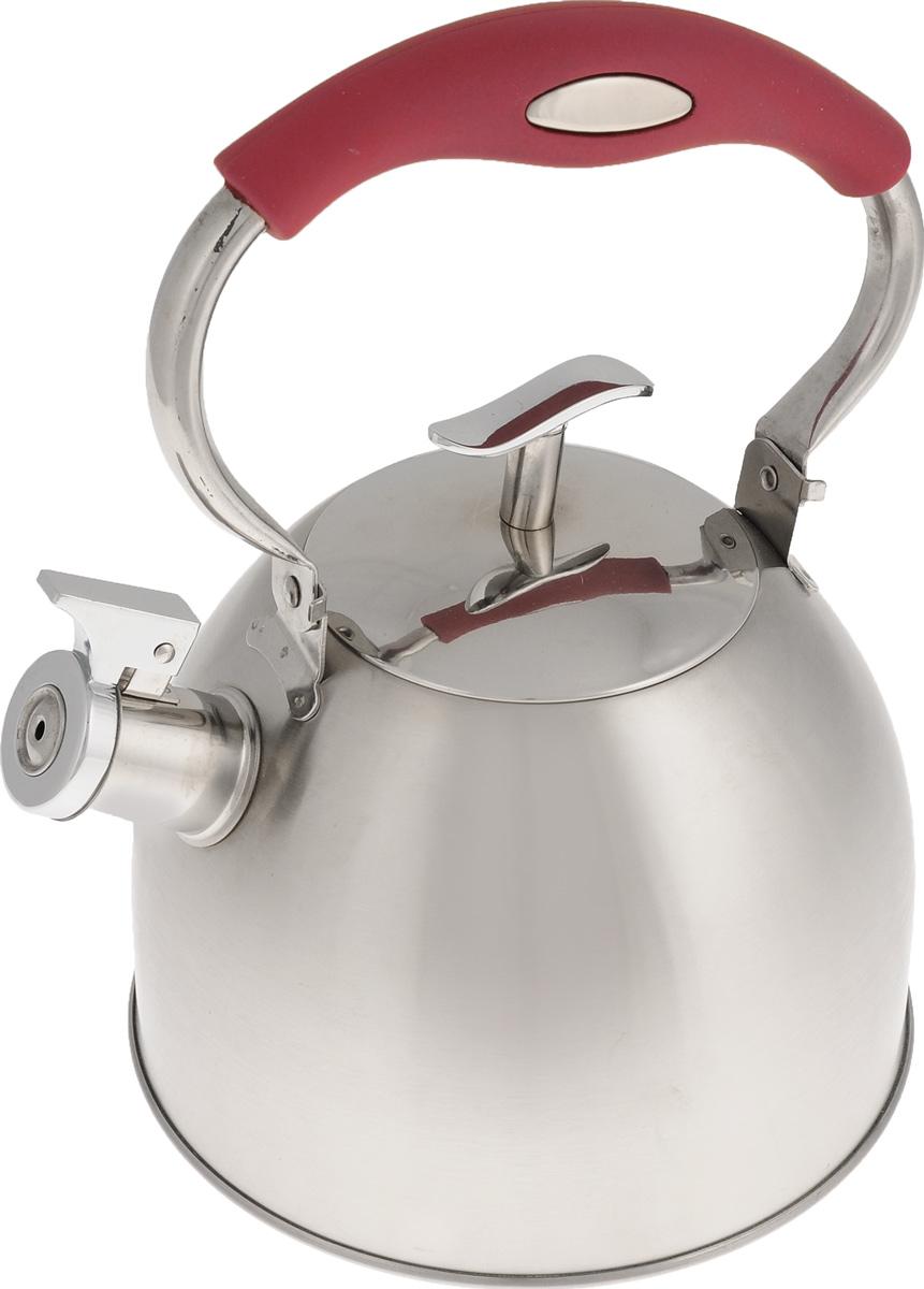 Чайник Mayer & Boch, со свистком, 3 л. 2142921429Чайник Mayer & Boch выполнен из высококачественной нержавеющей стали с зеркальной и матовой полировкой, что делает его гигиеничным и устойчивым к износу при длительном использовании. Нержавеющая сталь не окисляется и не впитывает запахи, напитки всегда ароматные и имеют настоящий вкус. Капсулированное дно с прослойкой из алюминия обеспечивает наилучшее распределение тепла. Носик чайника оснащен насадкой-свистком, что позволит вам контролировать процесс подогрева или кипячения воды. Подвижная ручка изготовлена из пластика с покрытием Soft-Touch. Поверхность чайника гладкая, что облегчает уход. Эстетичный и функциональный чайник будет оригинально смотреться в любом интерьере.Подходит для использования на всех типах плит, включая индукционные. Можно мыть в посудомоечной машине. Высота чайника (без учета ручки и крышки): 14 см.Высота чайника (с учетом ручки и крышки): 26 см.Диаметр чайника (по верхнему краю): 10 см.
