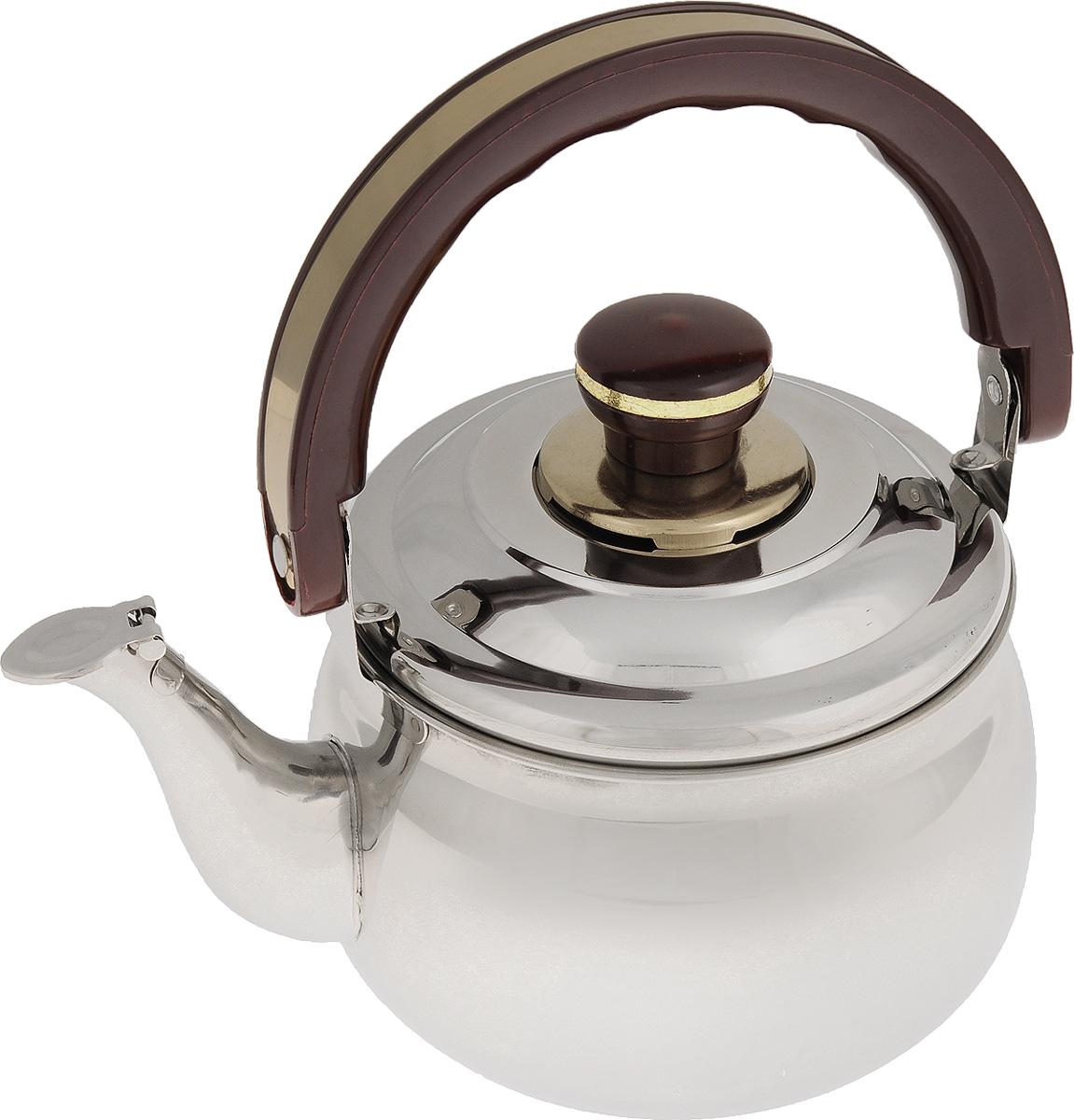 Чайник Mayer & Boch, со свистком, 1,5 л. 77817781Чайник Mayer & Boch изготовлен из высококачественной нержавеющей стали с зеркальной полировкой. Нержавеющая сталь не окисляется и не впитывает запахи, поэтому напитки всегда будут ароматными и иметь натуральный вкус. Капсулированное дно с прослойкой из алюминия обеспечивает наилучшее распределение тепла.Крышка чайника оснащена свистком, что позволит контролировать процесс подогрева или кипячения воды. Подвижная бакелитовая ручка имеет эргономичную форму, обеспечивая дополнительное удобство при разлитии напитка. Широкое верхнее отверстие поможет удобно налить воду.Чайник подходит для использования на электрических, газовых, стеклокерамических плитах. Можно мыть в посудомоечной машине.Диаметр чайника (по верхнему краю): 13,5 см.Высота чайника (без учета ручки и крышки): 9,5 см.