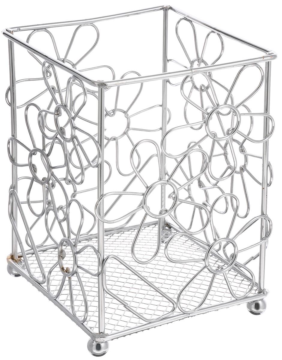 """Подставка для столовых приборов Mayer & Boch """"Цветы"""" изготовлена из качественного хромированного металла. Внизу расположена сетка. Такая подставка отлично подойдет для хранения столовых приборов и различных кухонных принадлежностей. Она стильно дополнит интерьер кухни и поможет аккуратно хранить приборы."""