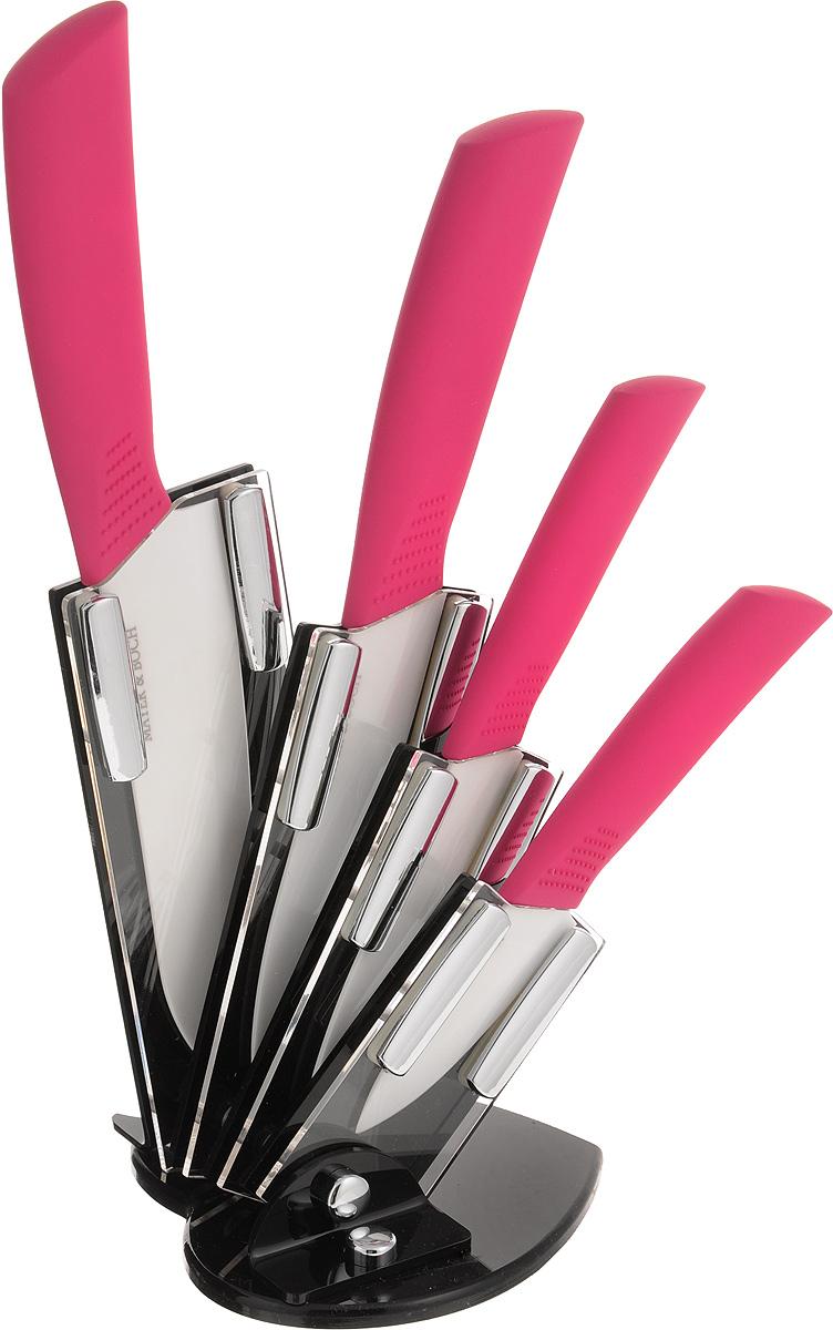 Набор керамических ножей Mayer & Boch, цвет: белый, малиновый, 5 предметов. 2230222302Набор ножей Mayer & Boch состоит из 4 ножей и подставки. Лезвия ножей выполнены из высококачественной циркониевой керамики. Керамические ножи не подвергаются коррозии, вследствие воздействия влаги, различных кислот или органических щелочей. Керамические ножи не придают металлического привкуса или запаха, а также сохраняют свежесть продуктов. Режущая кромка лезвий устойчива к притуплению. Керамические ножи высоко гигиеничны и легки в очистке. Рукоятки эргономичной формы выполнены из ABS-пластика с прорезиненным покрытием и термопластика. Специальный дизайн рукоятки обеспечивает комфортный и легко контролируемый захват. В комплект входит акриловая подставка. Основание подставки имеет форму сердечка.В наборе есть все необходимое для ежедневной нарезки фруктов, овощей и мяса. Ножи не рекомендуется мыть в посудомоечной машине. Длина лезвий ножей: 8 см; 10,5 см; 13 см; 15,5 см. Общая длина ножей: 18 см; 20,5 см; 25 см; 27 см. Размер подставки (ДхШхВ): 13 см х 12 см х 19 см.