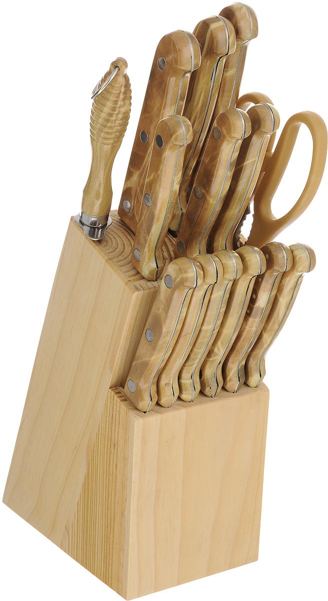 """Набор ножей """"Mayer & Boch"""" включает 12 ножей, ножницы, точилку для ножей и деревянную подставку. В набор входят все необходимые ножи для ежедневной резки овощей и фруктов: нож шеф-повара, нож для хлеба, нож для разделки мяса, нож для выемки костей, универсальный нож, нож для очистки кожуры, 6 ножей для стейков.  При изготовлении ножей используется нержавеющая сталь, которая обеспечивает высокие режущие свойства кромки клинка. Сечение клинков ножей клинообразное, что позволяет режущей кромке продолжительное время оставаться острой. Эргономичные рукоятки ножей, изготовленные из качественного пластика, обеспечивают безопасную работу и комфортное положение в руке.  Предметы набора компактно размещаются в стильной деревянной подставке, с помощью которой вы сможете хранить все ножи в одном месте. Физические и практические свойства данного материала гарантируют длительный эксплуатационный период. Такой набор станет великолепным подарком и органично впишется в любой кухонный интерьер.  Длина лезвия ножа шеф-повара: 20,3 см.  Общая длина ножа шеф-повара: 31,5 см.  Длина лезвия ножа для хлеба: 20,3 см.  Общая длина ножа для хлеба: 31 см.  Длина лезвия ножа для разделки мяса: 20,3 см.  Общая длина ножа для разделки мяса: 31,5 см.  Длина лезвия ножа для выемки костей: 15,2 см.  Общая длина ножа для выемки костей: 23 см.  Длина лезвия универсального ножа: 12,7 см.  Общая длина универсального ножа: 23 см.  Длина лезвия ножа для очистки: 8,9 см.  Общая длина ножа для очистки: 19,5 см.  Длина лезвия ножа для стейков: 11,4 см.  Общая длина ножа для стейков: 21,5 см.  Длина точилки: 29 см.  Длина рабочей поверхности точилки: 19,1 см.  Длина ножниц: 21,5 см.  Размер подставки: 9 х 14 х 20 см."""