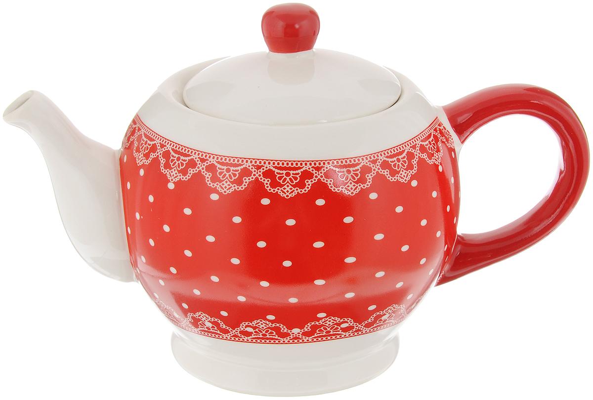 Чайник заварочный Loraine Красный узор, 950 мл25819Заварочный чайник Loraine Красный узор изготовлен из высококачественного доломита без примеси ПФОК. Глазурованное гладкое покрытие обеспечивает легкую очистку. Изделие прекрасно подходит для заваривания вкусного и ароматного чая, а также травяных настоев. Оригинальный дизайн сделает чайник настоящим украшением стола. Он удобен в использовании и понравится каждому.Можно мыть в посудомоечной машине и использовать в микроволновой печи. Диаметр чайника (по верхнему краю): 9 см. Высота чайника (без учета крышки): 11,3 см.
