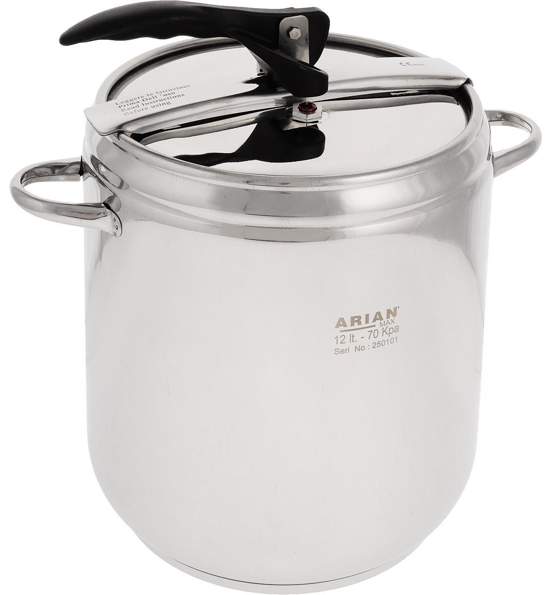 Скороварка Arian, 12 л800-12Скороварка Arian выполнена из высококачественной нержавеющей стали с зеркальной полировкой. Изделие оснащено толстым трехслойным капсульным дном, обеспечивающим равномерный нагрев и длительное сохранение тепла. Приготовление пищи в скороварке имеет массу преимуществ по сравнению с обычными способами варки в кастрюле. Время приготовления значительно сокращается, так как процесс происходит при повышенном давлении. При приготовлении пищи в скороварке сохраняется первоначальное количество жидкости - не происходит выпаривания. В процессе приготовления резко пахнущих продуктов (например, некоторых сортов рыбы) запах почти не распространяется. Крышка герметично закрывается. При этом пар выходит наружу только через клапан, поддерживающий повышенные давление и температуру внутри скороварки. Посуда функциональна и практична в использовании, является незаменимым помощником в приготовлении первых и вторых блюд из различных продуктов. Подходит для использования на всех типах плит, включая индукционные. Подходит для мытья в посудомоечной машине. Диаметр скороварки: 22 см. Высота скороварки: 27 см. Ширина скороварки (с учетом ручек): 33 см.