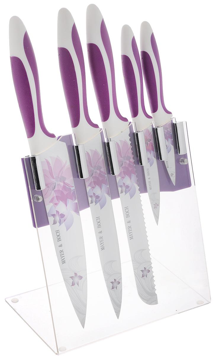 Набор ножей Mayer & Boch, на подставке, 6 предметов. 2245622456Набор Mayer & Boch состоит из 5 кухонных ножей и подставки. Лезвия ножейвыполнены из высококачественной нержавеющей стали с покрытием non-stick. Рукоятки ножей, выполненные из полипропилена и термопластика, обеспечивают комфортныйилегкоконтролируемый захват. Ножи прекрасно подходят для ежедневной резкифруктов, овощей и мяса.Компактная подставка выполнена из акрила. На дне подставки расположенырезиновые ножки для предотвращения скольжения по поверхности. В наборвходят:- нож для очистки - маленький нож с коротким прямым лезвием. Им удобноснимать кожуру с любого фрукта и овоща;- нож универсальный - легкий и многофункциональный нож для резки небольшиховощей и фруктов, колбасы, сыра, масла. Имеет неширокое лезвие, остриесцентрировано;- нож для хлеба - нож с зубчатой кромкой лезвия применяется для нарезки каксвежих, так и черствых хлебобулочных изделий. При резке таким ножом хлеб не нарушается.Нож применяется также длярезки рогаликов, булочек, бубликов и рулетов;- нож разделочный - нож с длинным, не широким, но достаточно толстымлезвием и со сцентрированным острием. Используется для разделки крупныховощей (капуста, свекла, кабачок), для нарезки большихкусков сырого и вареного мяса, разделки курицы, крупной рыбы. Им нарезаютарбуз, дыню и многое другое;- нож поварской - нож с толстым, широким и длинным лезвием. Все это позволяет легко рубитькапусту, овощи,зелень, резатьзамороженное мясо, рыбу и птицу. Этот набор включает все необходимое для каждодневногоприготовления пищи. Современный дизайн украсит интерьер вашей кухни.Общая длина поварского ножа: 33 см. Длина лезвия поварского ножа: 20,3 см. Общая длина разделочного ножа: 32,5 см. Длина лезвия разделочного ножа: 20,3 см. Общая длина ножа для хлеба: 32,5 см. Длина лезвия ножа для хлеба: 20,3 см. Общая длина универсального ножа: 21,5 см. Длина лезвия универсального ножа: 11,4 см. Общая длина ножа для очистки: 18 см. Длина лезвия ножа для очистки: 7,6 см. Размер 