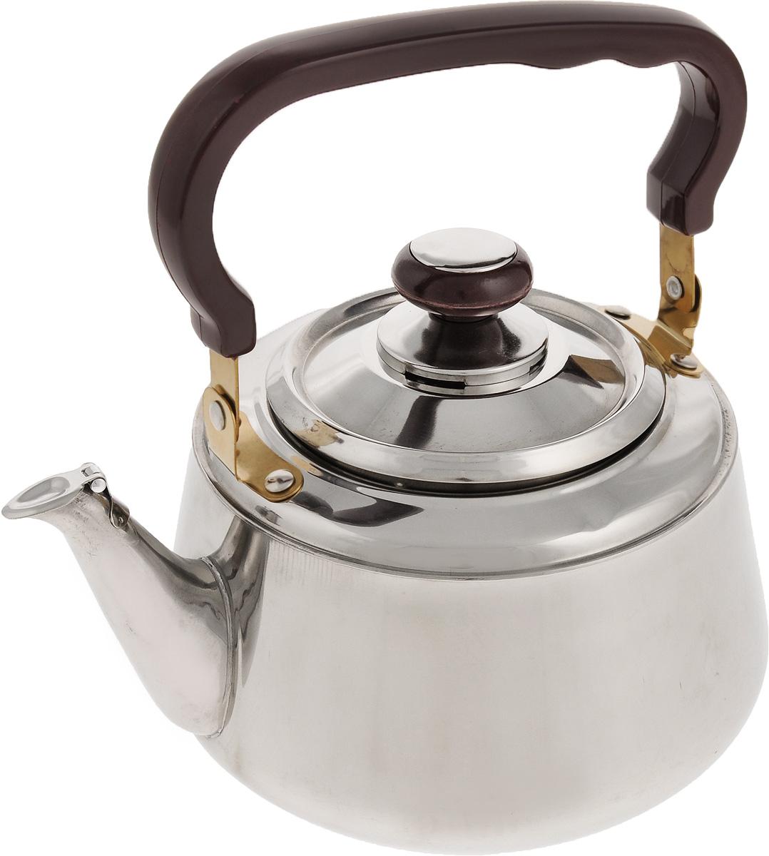 Чайник Mayer & Boch, со свистком, 2 л. 10391039Чайник Mayer & Boch изготовлен из высококачественной нержавеющей стали. Он оснащен удобной ручкой из бакелита, что делает использование чайника очень удобным и безопасным. Крышка снабжена свистком, позволяя контролировать процесс подогрева или кипячения воды.Эстетичный и функциональный чайник будет оригинально смотреться в любом интерьере.Подходит для стеклокерамических, газовых, электрических плит. Можно мыть в посудомоечной машине.Высота чайника (без учета ручки и крышки): 11,5 см.Высота чайника (с учетом ручки и крышки): 22,5 см.Диаметр чайника (по верхнему краю): 10 см.