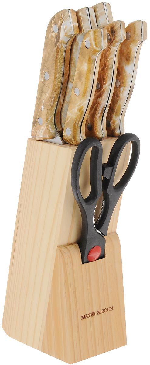 Набор ножей Mayer & Boch, на подставке, 9 предметов. 485485Набор ножей Mayer & Boch состоит из поварского ножа, ножа хлебного, ножа для выемки костей, универсального ножа, ножа для очистки, ножа для разделки мяса, ножниц, точилки и подставки. Ножи выполнены из высококачественной нержавеющей стали. Специальный дизайн ручек, изготовленных из полипропилена, обеспечивает безопасную работу. Подставка для ножей из дерева (сосна) сэкономит место на рабочем столе. В набор также входит точилка, благодаря которой ваши ножи всегда будут заточены, а резка будет доставлять только удовольствие. Такой набор станет для вас отличным помощником при нарезке овощей, фруктов и мяса. Рекомендуется мыть вручную. Длина лезвия поварского ножа: 15,2 см. Общая длина поварского ножа: 29 см. Длина лезвия хлебного ножа: 17,8 см. Общая длина хлебного ножа: 29 см. Длина лезвия ножа для разделки мяса: 17,8 см. Общая длина ножа для разделки мяса: 29 см. Длина лезвия ножа для выемки костей: 13,3 см. Общая длина ножа для выемки костей: 23,5 см. Длина лезвия универсального ножа: 11,4 см. Общая длина универсального ножа: 22 см. Длина лезвия ножа для чистки: 8,9 см. Общая длина ножа для очистки: 18,5 см. Длина ножниц: 22 см. Длина рабочей поверхности точилки: 19 см. Общая длина точилки: 29,5 см.Размер подставки: 7 х 11 х 20,5 см.