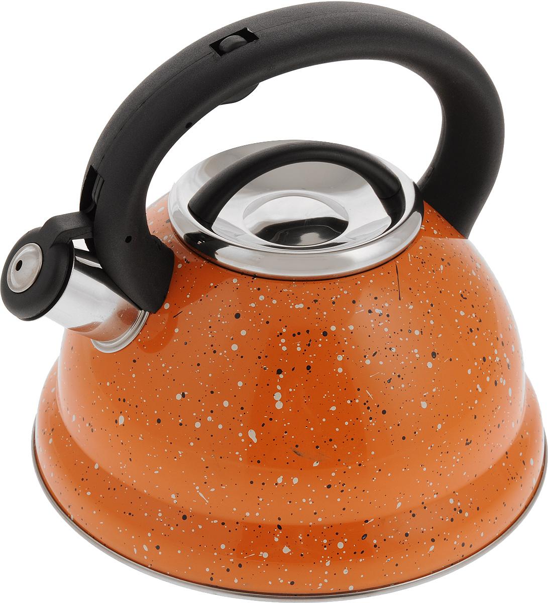Чайник Mayer & Boch, со свистком, 2,8 л. 2497024970Чайник Mayer & Boch выполнен из высококачественной нержавеющей стали. Фиксированная ручка, изготовленная из пластика и нержавеющей стали, снабжена клавишей для открывания носика, что делает использование чайника очень удобным и безопасным. Носик снабжен свистком, что позволит вам контролировать процесс подогрева или кипячения воды. Эстетичный и функциональный чайник будет оригинально смотреться в любом интерьере. Подходит для всех видов плит, включая индукционные. Можно мыть в посудомоечной машине.Диаметр чайника (по верхнему краю): 10 см.Диаметр основания: 22 см. Высота чайника (с учетом ручки): 20,5 см.