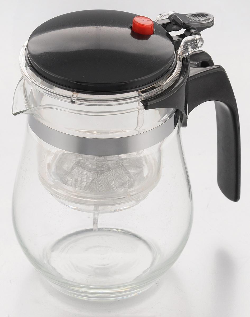 Чайник заварочный Mayer & Boch, с фильтром и клапаном, 500 мл4025Чайник заварочный Mayer & Boch изготовлен извысококачественного термостойкого стекла ипластика. Заварочный чайник удобен в использовании, любой человек, даже не имеющий большого опыта в заваривании чая, сможет заварить в нем чай до правильной консистенции без риска перезаварить чай. При нажатии на кнопку заваренный настой из фильтра переливается в нижнюю часть чайника, процесс заварки останавливается, а чаинки остаются в фильтре.Диаметр чайника (по верхнему краю): 7 см.Высота чайника (с учетом крышки): 14,5 см.