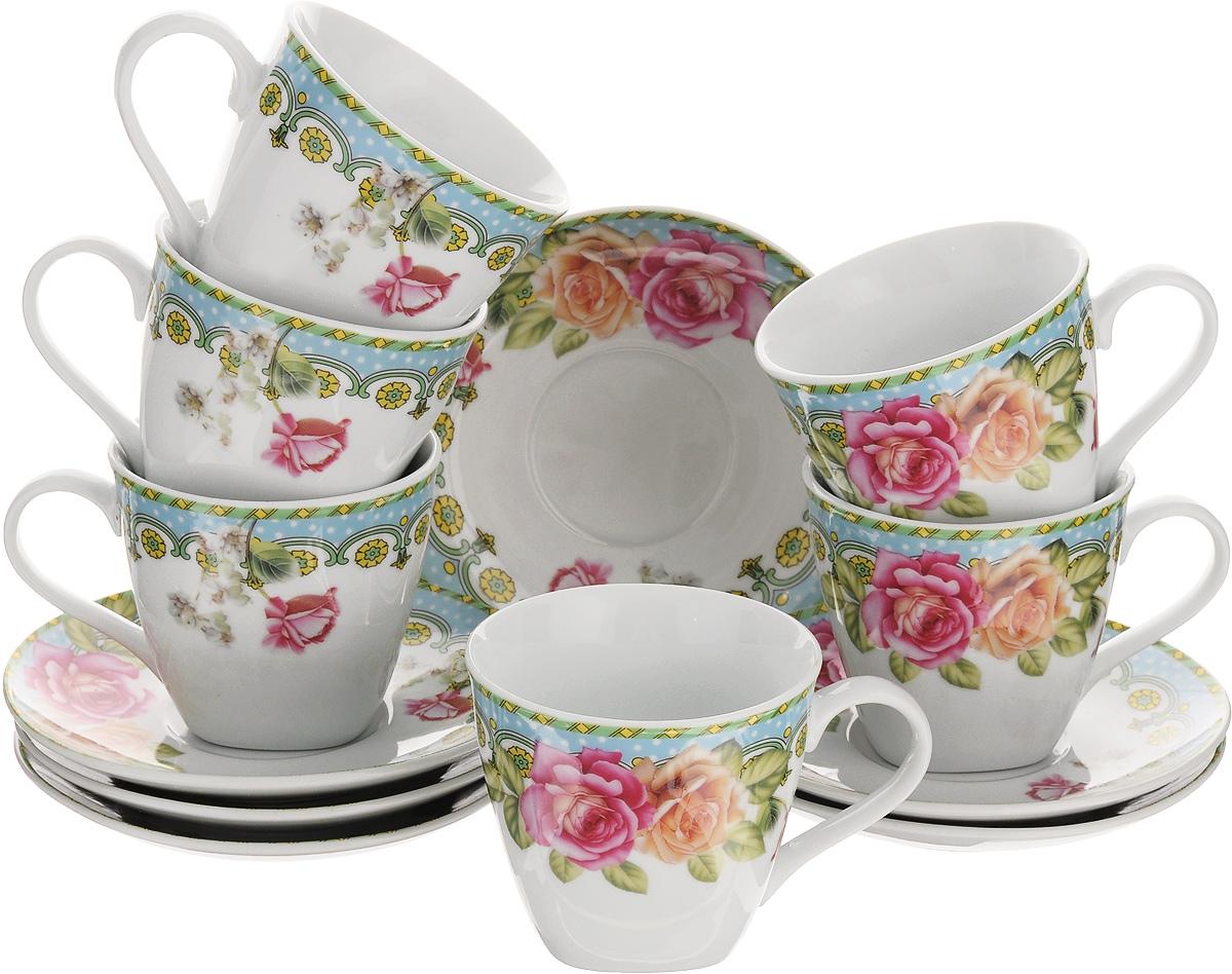 Набор чайный Loraine, 12 предметов. 2579525795Чайный набор Loraine выполнен из высококачественного фарфора белого цвета и украшен нежным цветочным рисунком. В набор входит 6 чашек и 6 блюдец. Изящный дизайн и красочность оформления придутся по вкусу и ценителям классики, и тем, кто предпочитает утонченность и изысканность. Чайный набор - идеальный и необходимый подарок для вашего дома и для ваших друзей в праздники, юбилеи и торжества. Он также станет отличным корпоративным подарком и украшением любой кухни. Набор упакован в подарочную коробку, задрапированную белой атласной тканью. Такой чайный набор станет прекрасным украшением стола, а процесс чаепития превратится в одно удовольствие. Объем чашки: 220 мл. Диаметр чашки (по верхнему краю): 8,5 см. Высота чашки: 7,5 см. Диаметр блюдца: 13,5 см.