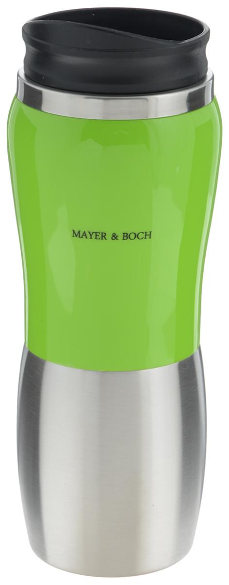Термос-кружка Mayer & Boch, 450 мл25409Термос-кружка Mayer & Boch изготовлен из качественной нержавеющей стали 403, не содержащей токсичных веществ. Двойные стенки дольше сохраняют напиток горячим и не обжигают руки. Корпус отделан гладкой цветной вставкой из акрилонитрила. Надежная крышка, выполненная из полипропилена с силиконовой вставкой, плотно закрывается и предотвращает проливание жидкости. Крышка оснащена клапаном для питья. Оптимальный объем термокружки позволит взять с собой большую порцию горячего кофе или чая. Идеально подходит как для горячих, так и для холодных напитков. Температура холодной жидкости сохраняется на протяжении 10-12 часов, а горячей - на протяжении 3-5 часов. Такая кружка может быть использована во время отдыха, на работе, в путешествии, во время поездок в автомобиле. Диаметр отверстия (по верхнему краю): 7,2 см. Высота термоса-кружки: 22 см.