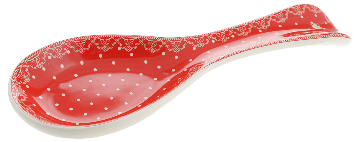 Подложка Loraine Красный узор, длина 24 см25810Подставка для ложки Loraine изготовлена из прочного доломита высокого качества. Данное изделие оформлено красочным дизайном и имеет стильный внешний вид.Подставка предназначена для поддержания чистоты на кухонном столе при приготовлении пищи.Поставьте ее рядом с плитой, и кладите на подставку ложку, половник или лопатку, которыми вы помешиваете блюда.