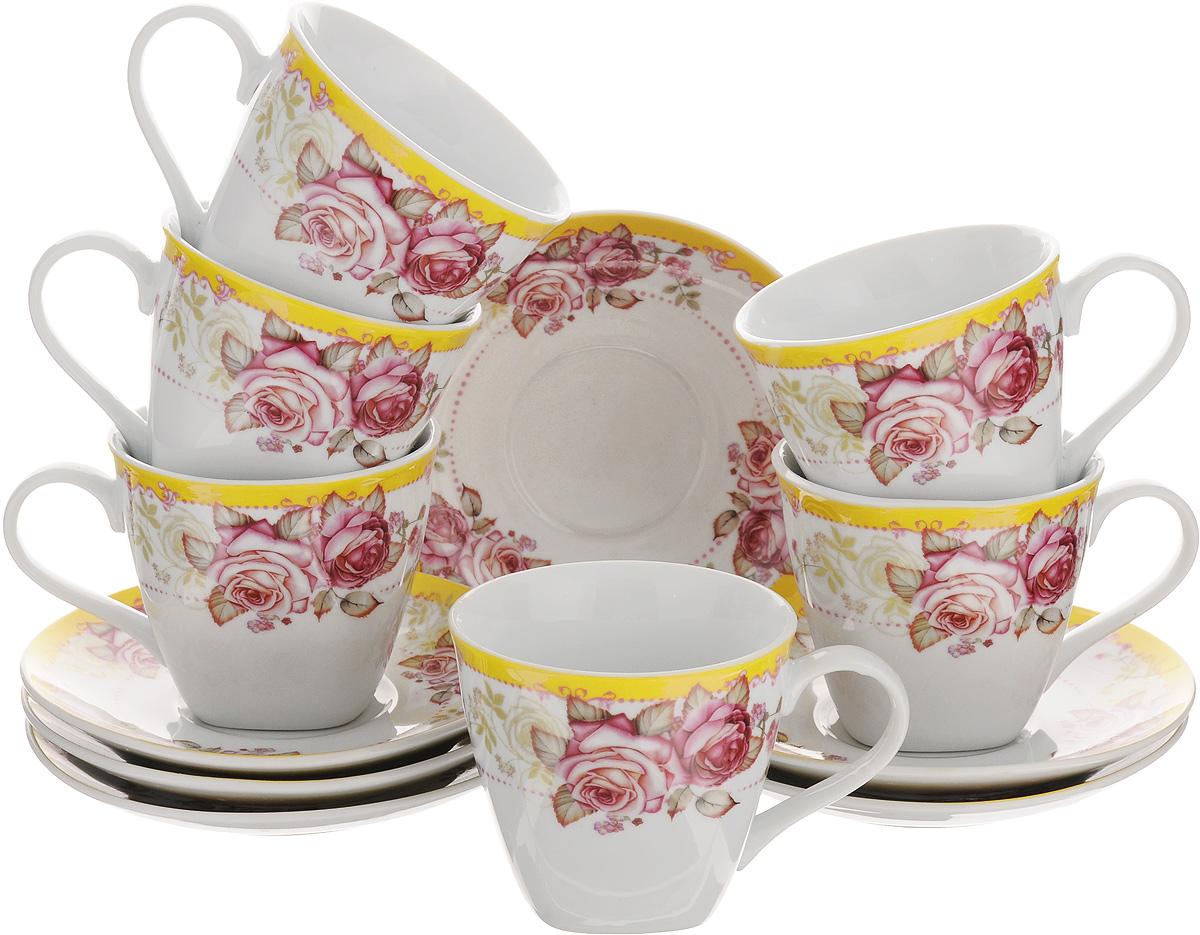 Набор чайный Loraine, 12 предметов. 2579425794Чайный набор Loraine выполнен из высококачественного фарфора белого цвета и украшен нежным цветочным рисунком. В набор входит 6 чашек и 6 блюдец. Изящный дизайн и красочность оформления придутся по вкусу и ценителям классики, и тем, кто предпочитает утонченность и изысканность.Чайный набор - идеальный и необходимый подарок для вашего дома и для ваших друзей в праздники, юбилеи и торжества. Он также станет отличным корпоративным подарком и украшением любой кухни.Набор упакован в подарочную коробку, задрапированную белой атласной тканью. Такой чайный набор станет прекрасным украшением стола, а процесс чаепития превратится в одно удовольствие.Объем чашки: 220 мл.Диаметр чашки (по верхнему краю): 8,5 см.Высота чашки: 7,5 см.Диаметр блюдца: 13,5 см.
