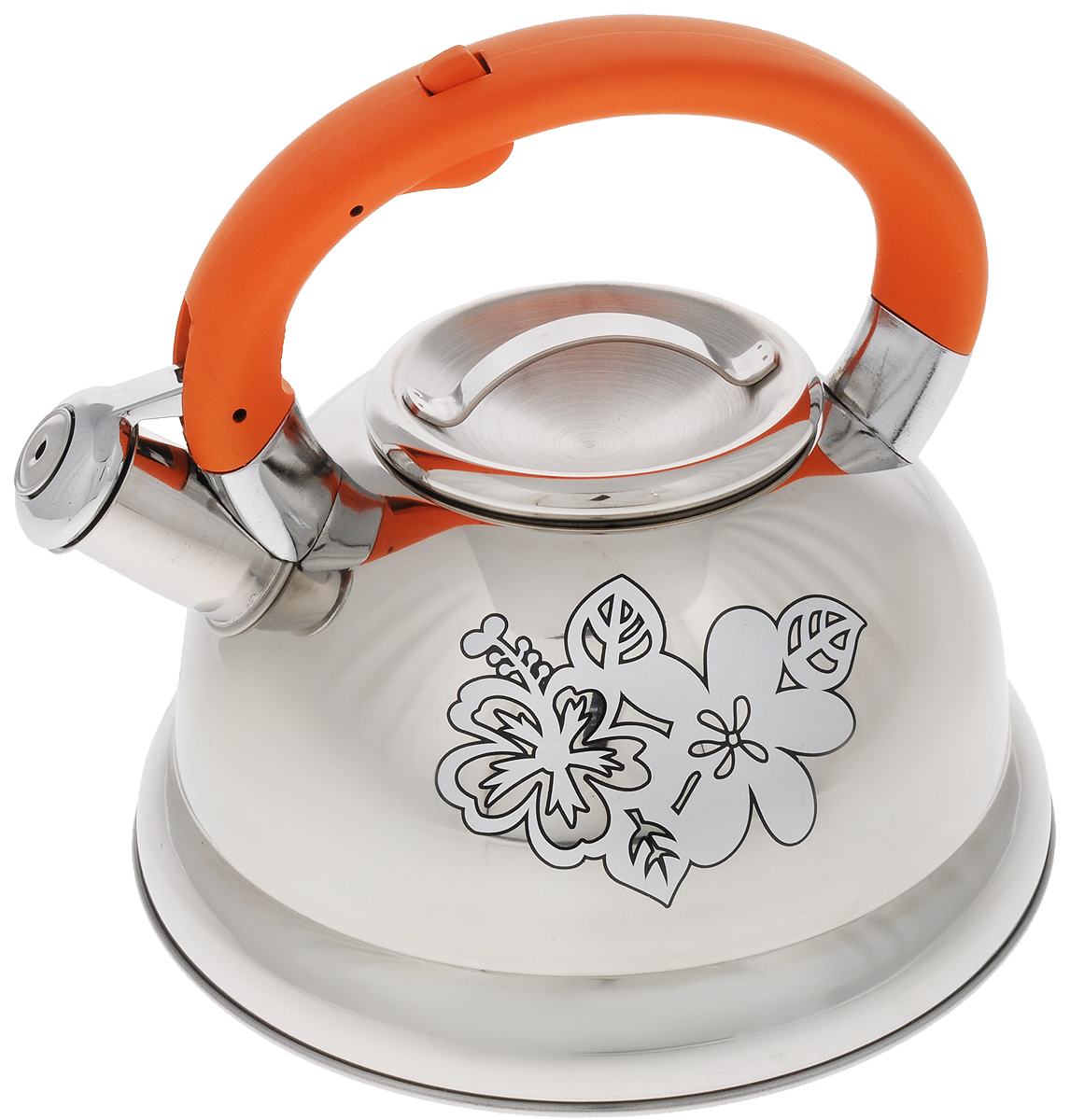 Чайник Mayer & Boch, со свистком, 2,6 л. 2278922789Чайник Mayer & Boch выполнен из высококачественной нержавеющей стали. Носик чайника оснащен насадкой-свистком, что позволит вам контролировать процесс подогрева или кипячения воды. Ручка из бакелита делает использование чайника очень удобным и безопасным. Эстетичный и функциональный чайник будет оригинально смотреться в любом интерьере.. Подходит для газовых, электрических, стеклокерамических и индукционных плит. Можно мыть в посудомоечной машине.Диаметр чайника (по верхнему краю): 10 см. Диаметр основания: 22 см.Высота чайника (без учета ручки): 11,5 см. Высота чайника (с учетом ручки): 20,5 см.
