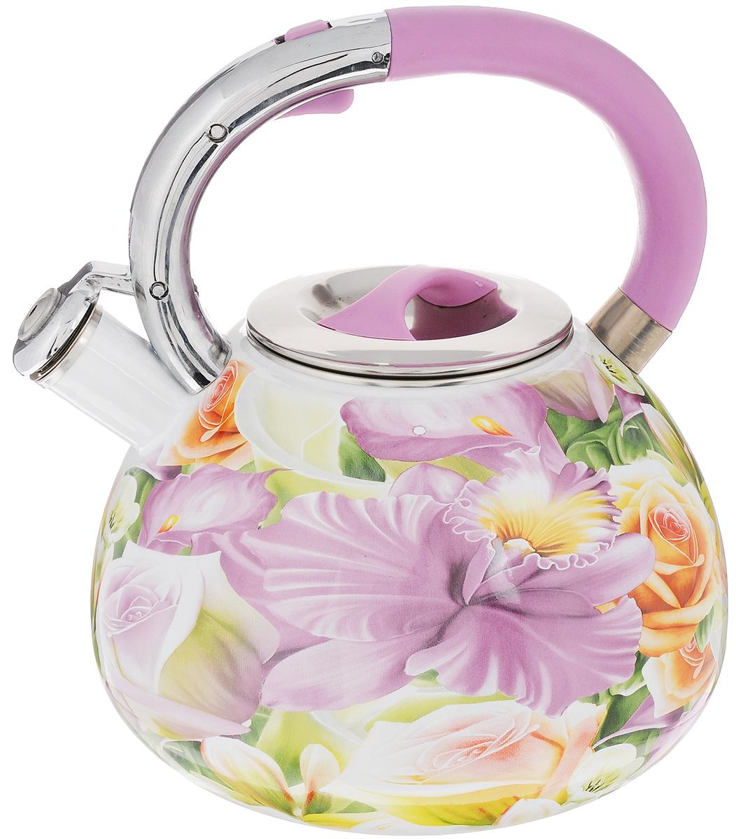 Чайник эмалированный Mayer & Boch, со свистком, 3,5 л. 2385423854Чайник со свистком Mayer & Boch изготовлен из высококачественной углеродистой стали. Корпус чайника имеет эмалированное покрытие с элегантным цветочным рисунком. Носик чайника оснащен откидным свистком, звуковой сигнал которого подскажет, когда закипит вода. Это освободит вас от непрерывного наблюдения за чайником. Свисток приподнимается с помощью специального механизма на ручке чайника. Эргономичная ручка выполнена из пластика.Подходит для всех видов плит, включая индукционные.Изделие можно мыть в посудомоечной машине.Высота чайника (без учета ручки и крышки): 14,5 см. Высота чайника (с учетом ручки и крышки): 23,5 см.Диаметр основания чайника: 19 см.Диаметр чайника (по верхнему краю): 10,5 см.
