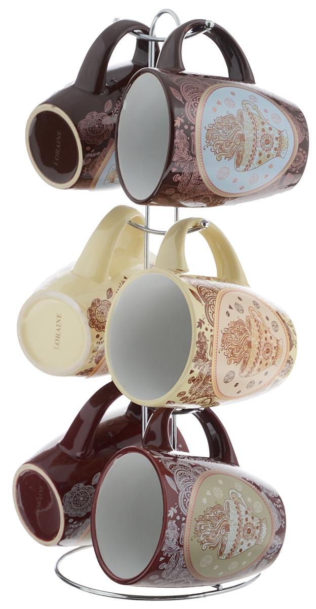 """Набор """"Loraine"""" состоит из 6 кружек и подставки. Кружки,  выполненные из высококачественной керамики с  глазурованным покрытием, очень удобны в использовании.  Теплостойкие ручки не позволяют обжечь руки во время  чаепития.  Для компактного хранения кружек предусмотрена  металлическая подставка с шестью крючками  для подвешивания изделий.  Яркий дизайн и качество исполнения сделают такой  набор замечательным приобретением для вашей кухни.   Можно использовать в микроволновой печи и мыть в  посудомоечной машине. Изделия подходят для хранения в холодильнике.  Объем кружки: 380 мл.  Диаметр кружки (по верхнему краю): 8,5 см.  Высота кружки: 10,5 см.  Диаметр основания подставки: 14 см.  Высота подставки: 37 см."""