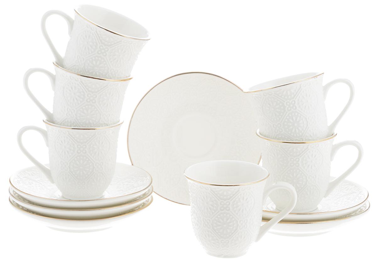 Набор кофейный Loraine, 12 предметов. 25772530034Кофейный набор Loraine состоит из 6 чашек и 6 блюдец.Изделия выполнены из высококачественного костяногофарфора и оформлены золотистой каймой. Такойнабор станет прекрасным украшением стола и порадуетгостей изысканным дизайном и утонченностью.Набор упакован в подарочную коробку, задрапированнуювнутри белой атласной тканью. Каждый предмет надежнозафиксирован внутри коробки.Кофейный набор Loraine идеально впишется в любойинтерьер, а также станет идеальным подарком для вашихродных и близких.Объем чашки: 90 мл.Диаметр чашки (по верхнему краю): 6,5 см.Высота чашки: 6 см.Диаметр блюдца (по верхнему краю): 11,5 см.Высота блюдца: 2 см.