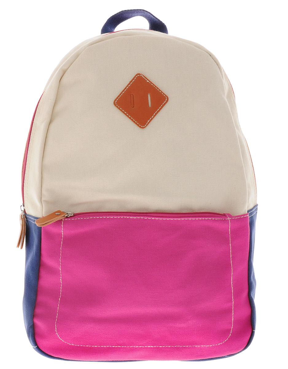 Centrum Рюкзак детский цвет светло-бежевый розовый синий86910Рюкзак Centrum выполнен из натурально хлопка яркой расцветки. Рюкзак имеет одно вместительно отделение, которое застегиваются на молнию. Внутри отделения имеется большой накладной карман без застежки.На лицевой стороне рюкзака расположен большой накладной карман на молнии. Рюкзак оснащен текстильной ручкой для удобной переноски и широкими плечевыми ремнями. Ремни можно регулировать по длине.