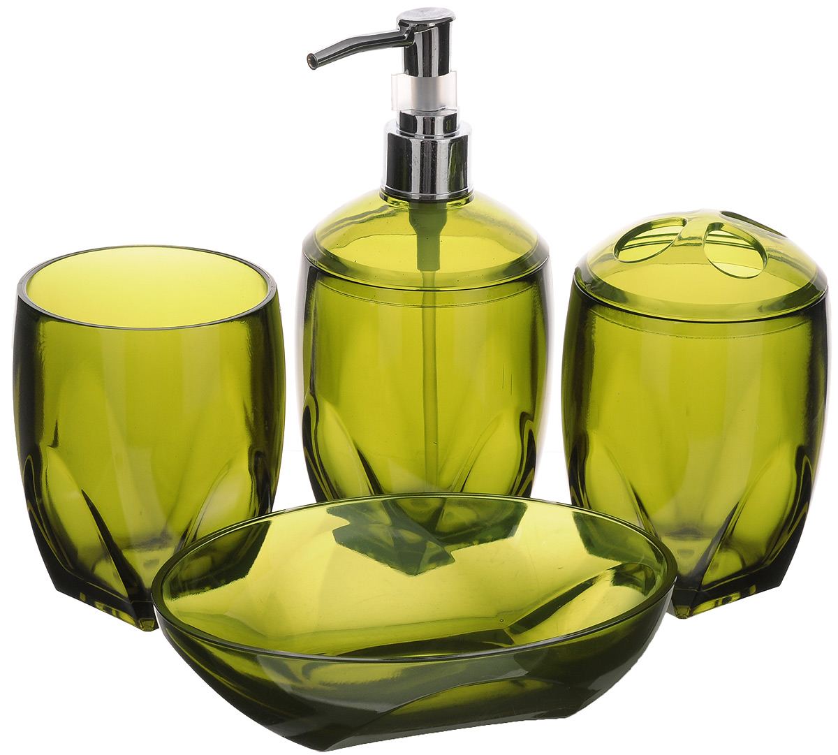 Набор для ванной комнаты Aqva Line Олива, 4 предмета набор сомелье цвет бежевый 15 х 17 х 4 см 4 предмета 57655