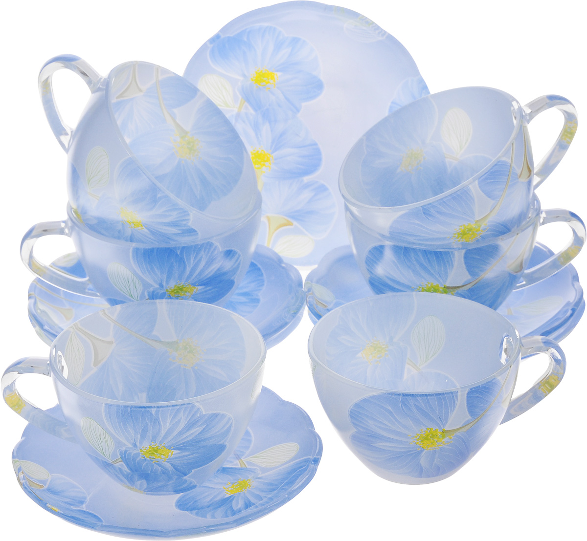 Набор чайный Loraine, 12 предметов. 2412324123Чайный набор Loraine состоит из 6 чашек и 6блюдец, выполненных извысококачественного стекла. Изделия прекраснодополнятсервировку стола к чаепитию.Благодаря изысканному дизайну и качествуисполнения такой набор станетзамечательным подарком для ваших друзей иблизких.Объем чашки: 200 мл.Диаметр чашки по верхнему краю: 9 см.Высота чашки: 6 см.Диаметр блюдца: 13 см. Высота блюдца: 2 см.