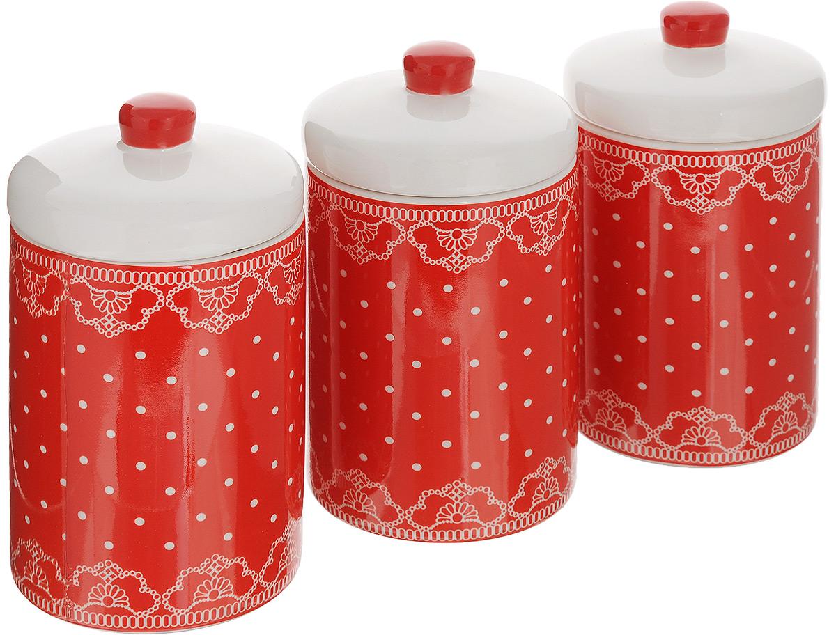 набор банок для сыпучих продуктов loraine красный узор 400 мл 3 шт 25862 Набор банок для сыпучих продуктов Loraine Красный узор, 400 мл, 3 шт