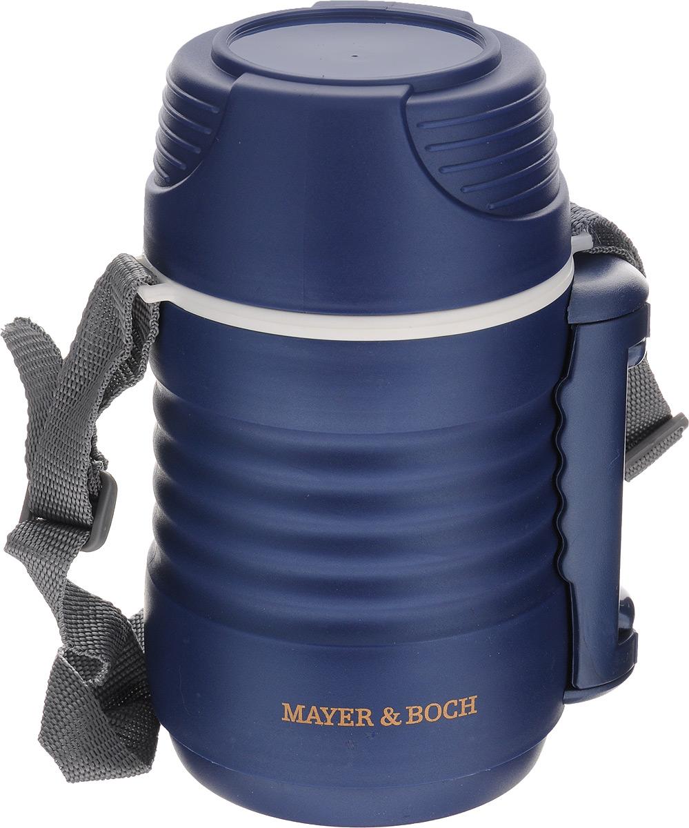 Термос пищевой Mayer & Boch, цвет: синий, белый, 700 мл23730Пищевой термос Mayer & Boch предназначен для хранения и переноски горячих и холодных продуктов.Корпус выполнен из высококачественного цветного пищевого пластика. Внутренняя колба изготовлена из нержавеющей стали.Наполнение из жесткого пенопласта сохраняет температуру и свежесть пищи на протяжении 4-5 часов. Пищасохраняет аромат, вкус и питательные вещества. В широкое горлышко термоса помещены два контейнера с крышками, изготовленные из пищевого пластика белого цвета. Крышки легко открываются и плотно закрывается с помощью легкого щелчка.Для удобства переноски на корпусе предусмотрены складная ручка и ремень.Термос Mayer & Boch - это идеальный вариант для переноски нескольких разных блюд. В него поместится все необходимое, и вы в любое время сможете вкусно и быстро пообедать.Объем: 700 мл. Размер термоса: 11 х 11 х 20 см. Диаметр контейнеров: 8 см. Высота стенки маленького контейнера: 4,5 см. Высота стенки большого контейнера: 8,5 см.