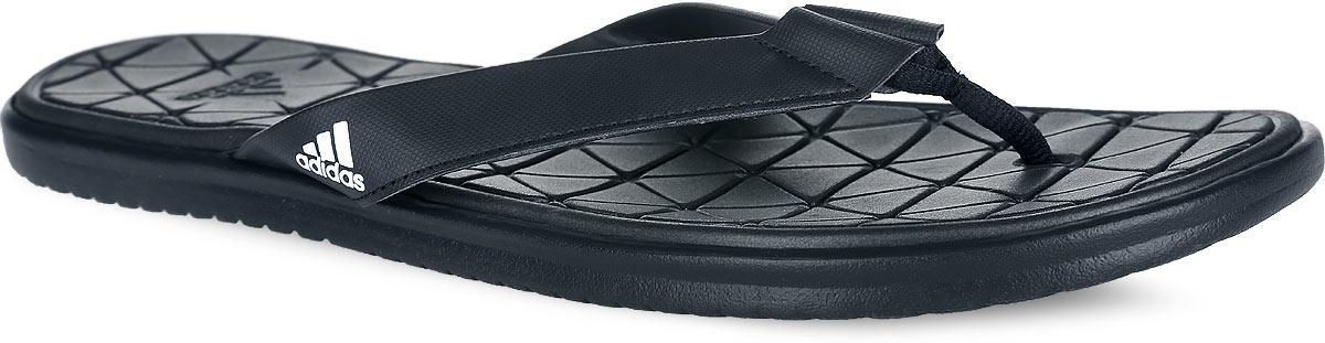 Сланцы мужские adidas Caverock Supercloud, цвет: черный. S31679. Размер 7 (39)S31679Стильные сланцы от adidas Caverock Supercloud - отличный выбор для летнего отдыха. Ремешки модели выполнены из искусственной кожи и оформлены сбоку фирменным принтом, перемычка из текстиля. Быстросохнущая верхняя поверхность подошвы с технологией Supercloud, изготовленная из ЭВА материала, гарантирует прекрасную амортизацию и максимальный комфорт стоп. Рифление на верхней поверхности подошвы предотвращает выскальзывание ноги. Рельефное основание подошвы обеспечивает уверенное сцепление с любой поверхностью. Удобные сланцы прекрасно подойдут для похода в бассейн или на пляж.
