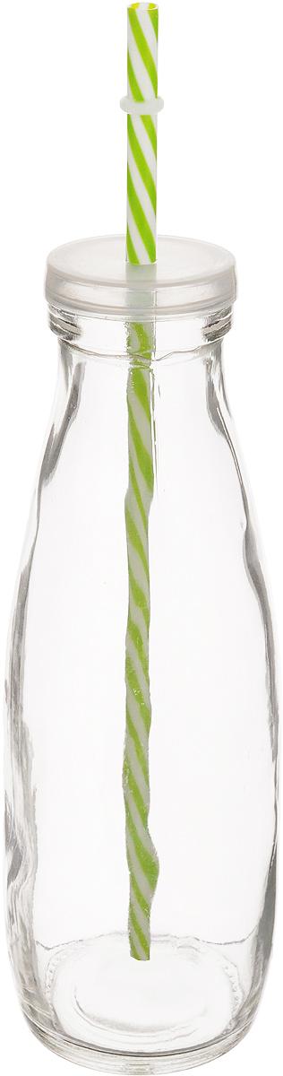 Емкость для напитков Zeller, с трубочкой, цвет: прозрачный, зеленый, 475 мл19721_прозрачный, зеленыйЕмкость Zeller, выполненная из высококачественного стекла ввиде бутылки, снабжена трубочкой и пластиковой крышкой сотверстием для трубочки. Изделие предназначено для сока,воды и других напитков. Емкость очень удобна виспользовании. Она пригодится как дома, так и на даче.Диаметр по верхнему краю: 4,5 см. Высота емкости: 21 см. Длина трубочки: 26 см.