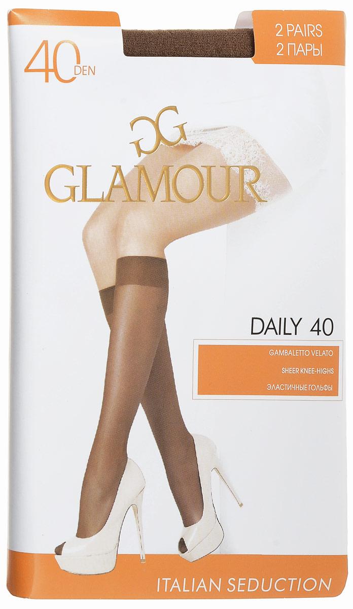 Гольфы женские Glamour Daily 40, цвет: Daino (загар), 2 пары. 25812. Размер универсальныйDaily 40Стильные гольфы Glamour Daily 40, изготовленные из эластичного полиамида, идеально дополнят ваш образ в прохладную погоду.Шелковистые тонкие гольфы легко тянутся, что делает их комфортными в носке. Гладкие и мягкие на ощупь, они имеют комфортную мягкую резинку и укрепленный мысок. Идеальное облегание и комфорт гарантированы при каждом движении. Плотность: 40 den. В комплекте 2 пары.