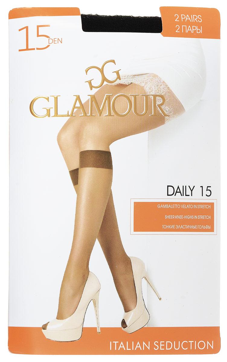 Гольфы женские Glamour Daily 15, цвет: Nero (черный), 2 пары. 25810. Размер универсальный гольфы женские intimidea essential 40 цвет nero черный 2 пары размер универсальный
