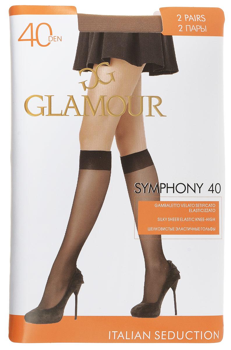 Гольфы женские Glamour Symphony 40, цвет: Miele (телесный), 2 пары. 25819. Размер универсальныйSymphony 40Стильные гольфы Glamour Symphony 40, изготовленные из эластичного полиамида, идеально дополнят ваш образ в прохладную погоду.Шелковистые гольфы легко тянутся, что делает их комфортными в носке. Гладкие и мягкие на ощупь, они имеют комфортную мягкую резинку и укрепленный мысок. Идеальное облегание и комфорт гарантированы при каждом движении. Плотность: 40 den. В комплекте 2 пары.