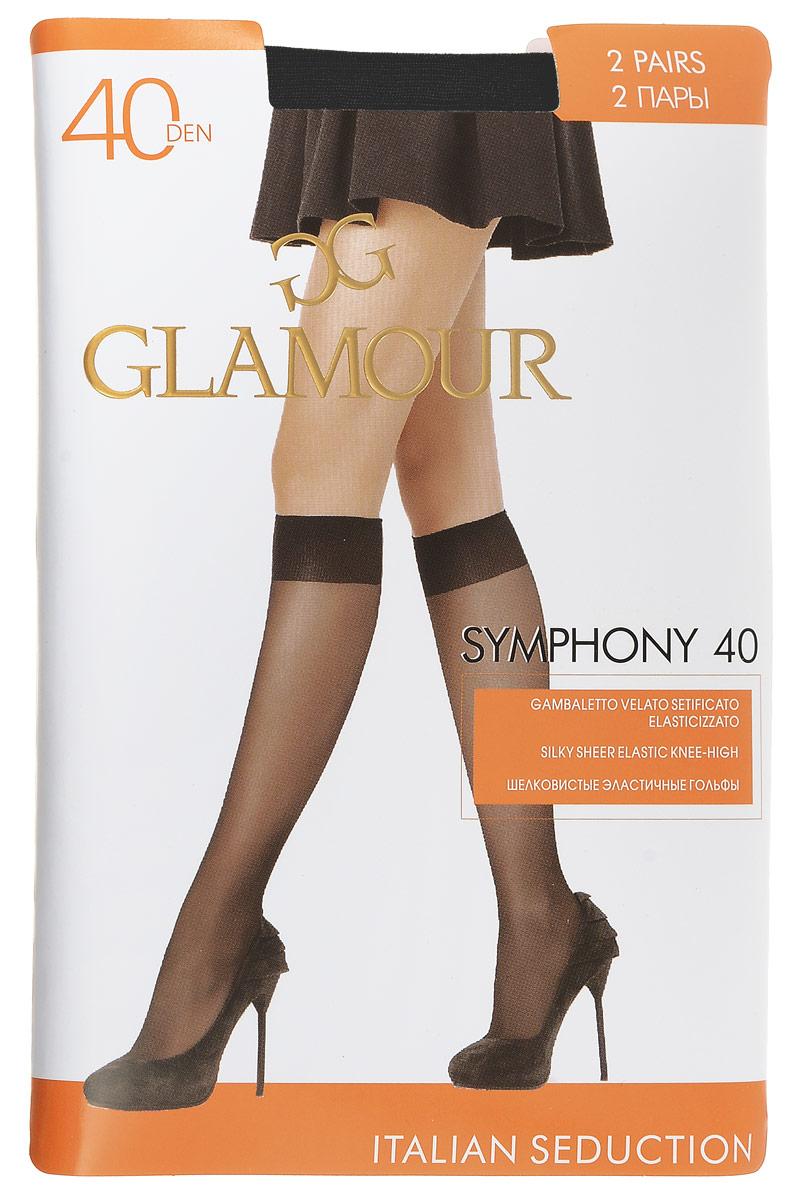 Гольфы женские Glamour Symphony 40, цвет: Nero (черный), 2 пары. 25819. Размер универсальный гольфы женские omsa easy day 40 nero черный 2 пары размер 3 4 m l