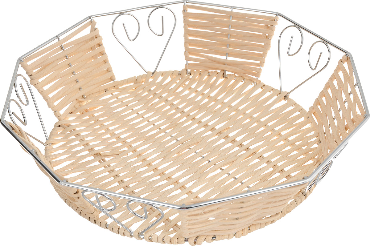 Хлебница Mayer & Boch, 29,5 х 23 х 6,5 см22332Хлебница Mayer & Boch прекрасно подойдет для хранения хлебобулочных изделий, а также фруктов. Изделие выполнено из хромированного металла с деревянной плетеной отделкой из ротанга. Красивая плетеная хлебница изысканно украсит интерьер вашей кухни.