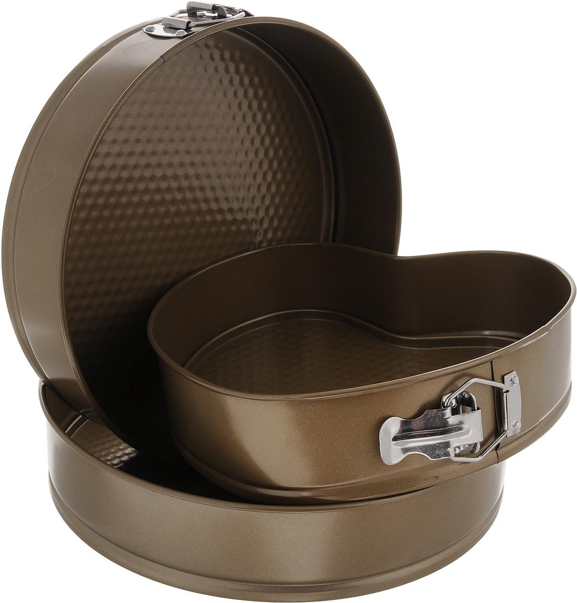 """Набор """"Mayer & Boch"""" состоит из двух круглых форм для выпечки и одной формы в виде сердца, выполненных из высококачественной углеродистой стали. Современное высокотехнологичное антипригарное покрытие предотвращает пригорание выпечки и обеспечивает легкую очистку после использования. Кроме того, формы имеют разъемный механизм и съемное дно, благодаря чему готовое блюдо очень легко вынимать. Изделия складываются друг в друга по принципу """"матрешки"""", поэтому они не займут много места на кухне при хранении.  Формы легкие и удобные в использовании, легко моются. С ними готовить любимые блюда станет еще проще. Подходят для использования в духовом шкафу и хранения пищи в холодильнике. Не предназначены для СВЧ-печей. Диаметр круглых форм: 26 см, 28 см. Высота стенок: 6,7 см. Размер формы в виде сердца: 23,4 х 23,5 х 6,7 см."""