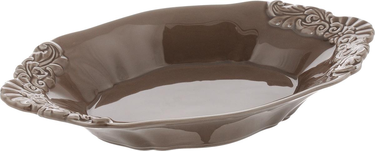 Блюдо Patricia Брауни, 31 х 18 х 4,5 смIM18-0106Овальное блюдо Patricia Брауни - прекрасное дополнение праздничного стола. Изделие, выполненное из высококачественного фаянса, оформлено рельефным узором. Блюдо сочетает в себе изысканный дизайн с максимальной функциональностью. Оно идеально подойдет для сервировки стола и станет отличным подарком к любому празднику.Не рекомендуется использовать в микроволновой печи и мыть в посудомоечной машине. Размер блюда (по верхнему краю): 31 х 18 см. Высота блюда: 4,5 см.