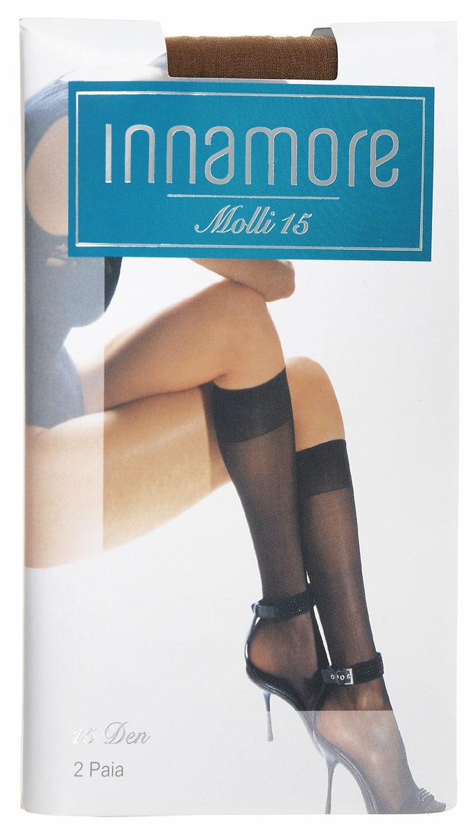 Гольфы женские Innamore Molli 15, цвет: Daino (загар), 2 пары. 6004. Размер универсальныйMolli 15Тонкие эластичные женские гольфы Innamore Molli, выполненные из полиамида с добавлением эластана, идеально подойдут для повседневной носки. Модель дополнена широкой мягкой резинкой top comfort и укрепленным мыском. В комплект входят 2 пары.Плотность: 15 Den.