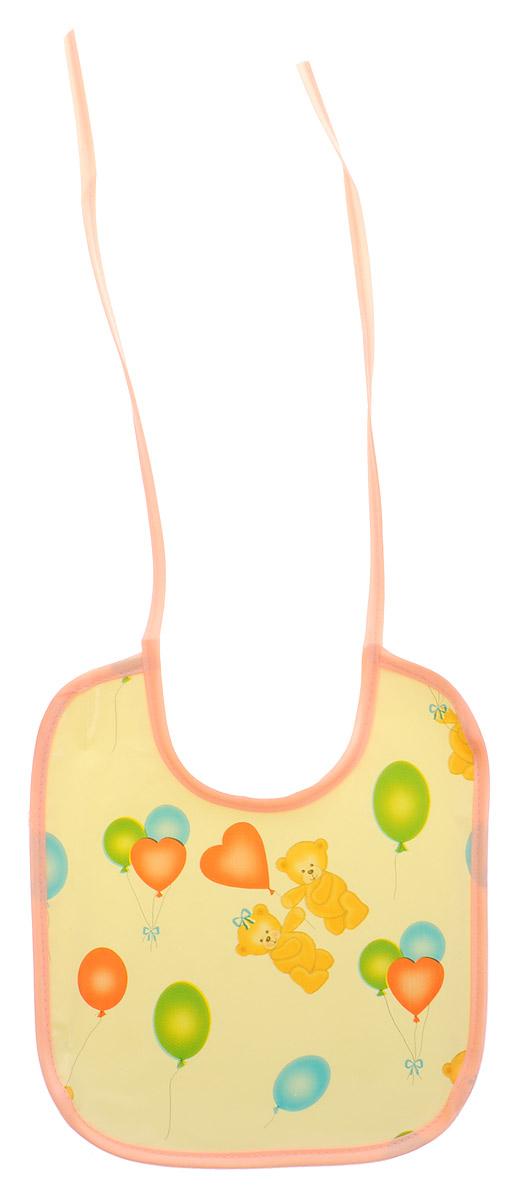 Колорит Нагрудник Мишки с шариками цвет желтый 20 х 22 см