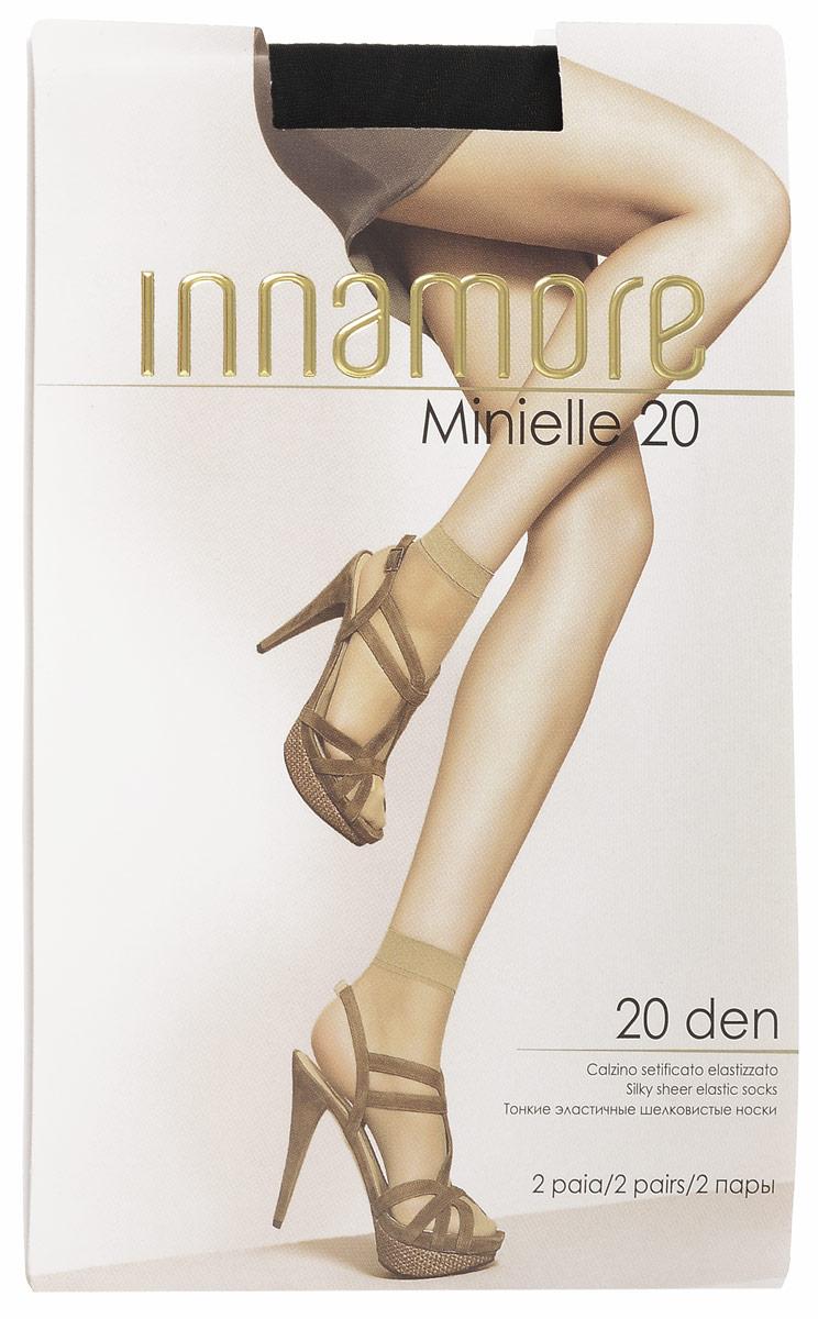 Носки женские Innamore Minielle 20, цвет: Nero (черный), 2 пары. 6001. Размер универсальныйMinielle 20Удобные женские носки Innamore Minielle 20, изготовленные из высококачественного эластичного полиамида, идеально подойдут для повседневной носки. Входящий в состав материала полиамид обеспечивает износостойкость, а эластан позволяет носочкам легко тянуться, что делает их комфортными в носке.Эластичная резинка плотно облегает ногу, не сдавливая ее, обеспечивая комфорт и удобство и не препятствуя кровообращению. Практичные и комфортные шелковистые носки великолепно подойдут к любой открытой обуви. В комплект входят 2 пары носков. Плотность: 20 den.