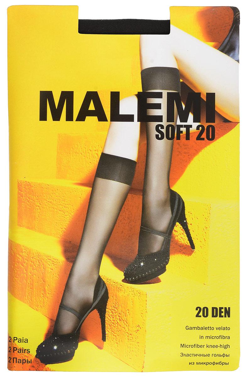 Гольфы женские Malemi Soft 20, цвет: Nero (черный), 2 пары. 9066. Размер универсальныйSoft 20Стильные гольфы Malemi Soft 20, изготовленные из эластичного полиамида, идеально дополнят ваш образ в прохладную погоду.Шелковистые тонкие гольфы легко тянутся, что делает их комфортными в носке. Гладкие и мягкие на ощупь, они имеют комфортную мягкую резинку. Идеальное облегание и комфорт гарантированы при каждом движении. Плотность: 20 den. В комплекте 2 пары.