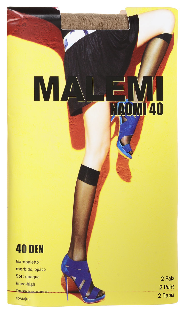Гольфы женские Malemi Naomi 40, цвет: Melon (телесный), 2 пары. 9057. Размер универсальный гольфы женские malemi soft 40 цвет nero черный 9067 размер универсальный