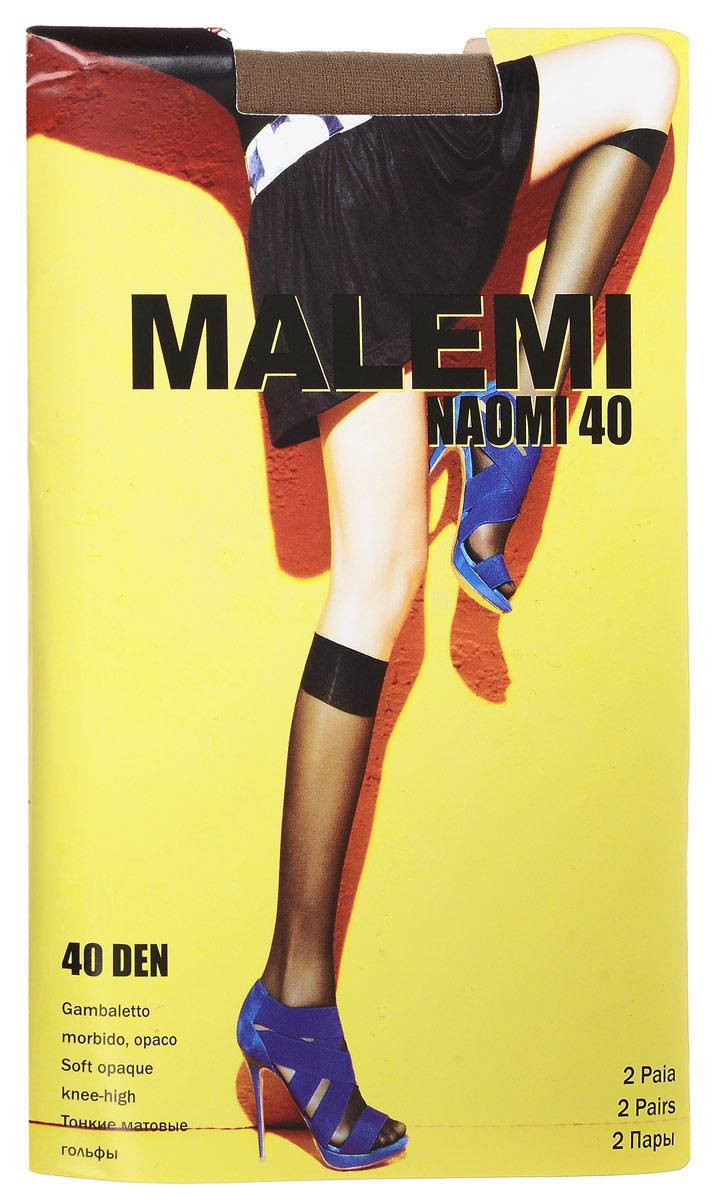 Гольфы женские Malemi Naomi 40, цвет: Daino (загар), 2 пары. 9057. Размер универсальный гольфы женские malemi soft 40 цвет nero черный 9067 размер универсальный