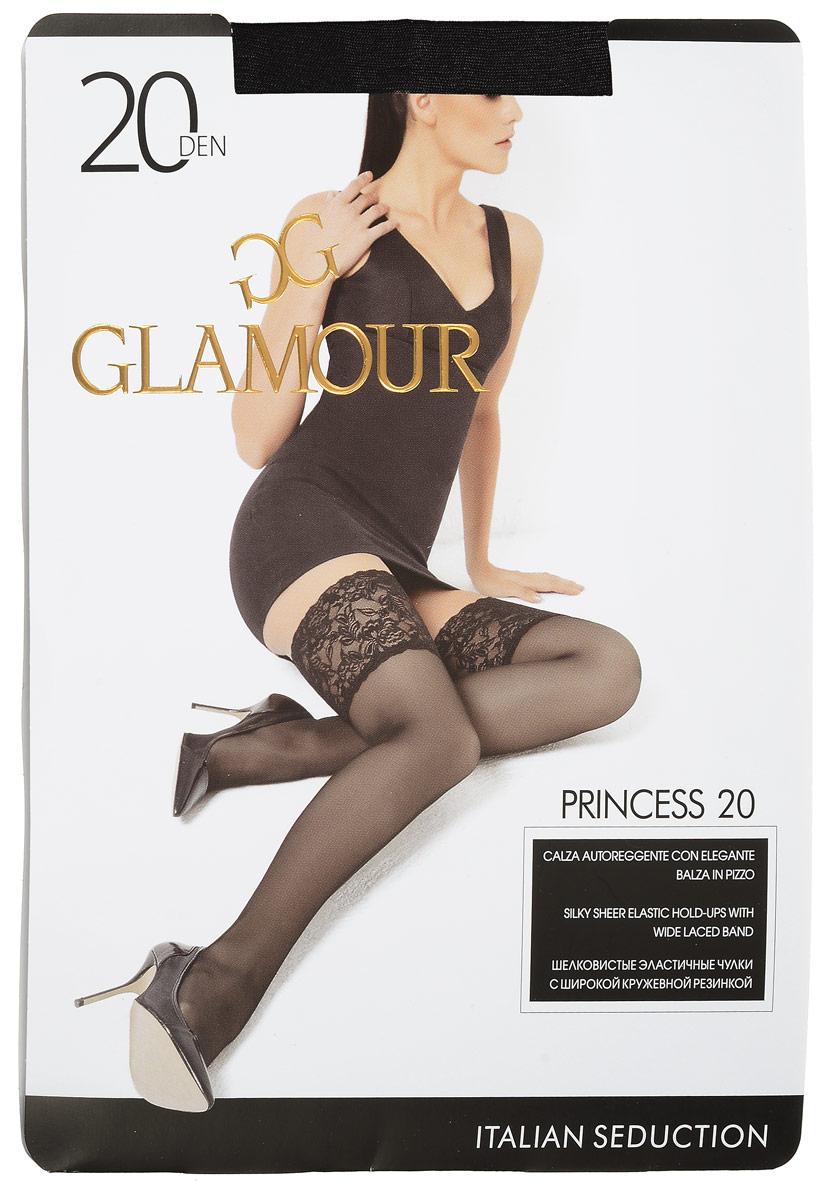 Чулки женские Glamour Princess 20, цвет: Nero (черный). 27972. Размер 2 (42/44)Princess 20Стильные чулки Glamour Princess 20, изготовленные из эластичного полиамида, идеально дополнят ваш образ в прохладную погоду.Шелковистые матовые чулки легко тянутся, что делает их комфортными в носке. Гладкие и мягкие на ощупь, они имеют удобную широкую ажурную резинку на силиконовой основе и укрепленный прозрачный мысок. Идеальное облегание и комфорт гарантированы при каждом движении. Плотность: 20 den.